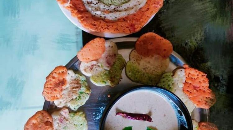 Tri colour mini uttapams and tri colour instant dosa with nariyal chutney