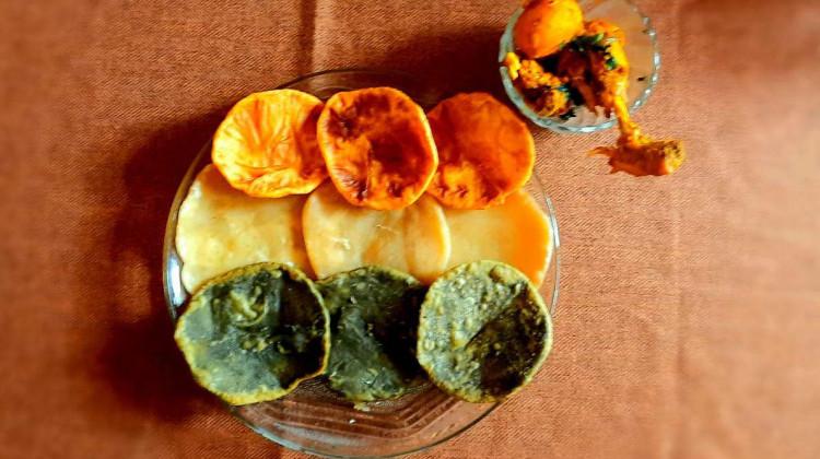 Tricolor Kachori with Chicken Kasha