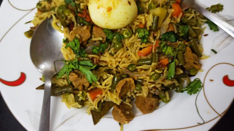 Egg soya biryani