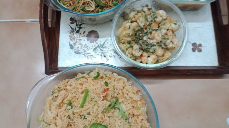 Hakka Noodles , garlic prawns and fried rice
